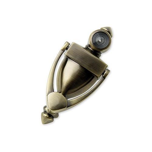 Harney 32436 door knocker with peephole viewer 5 1 2 high zinc door knocker antique brass - Door knocker with peep hole ...