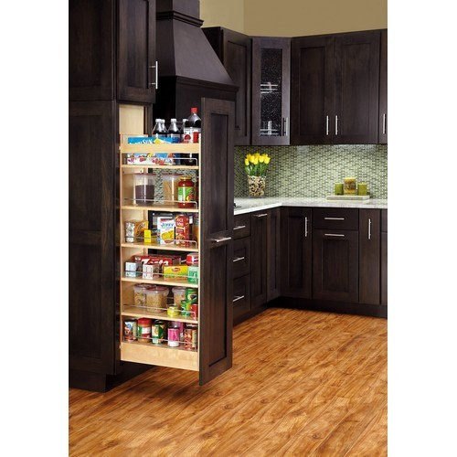 8 Wood Pantry Pull Out With Gas Assisted Soft Close Maple Wood Frame 8w X 22d X 43 1 4 To 50 1