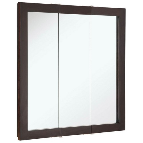 Design house 541342 ventura espresso tri view medicine cabinet mirror 30 inches by 30 inches for Espresso bathroom medicine cabinet