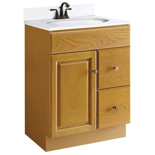 Design House 545137 Claremont Honey Oak Vanity Cabinet With 1 Door And 2 Drawers 24 Inches By