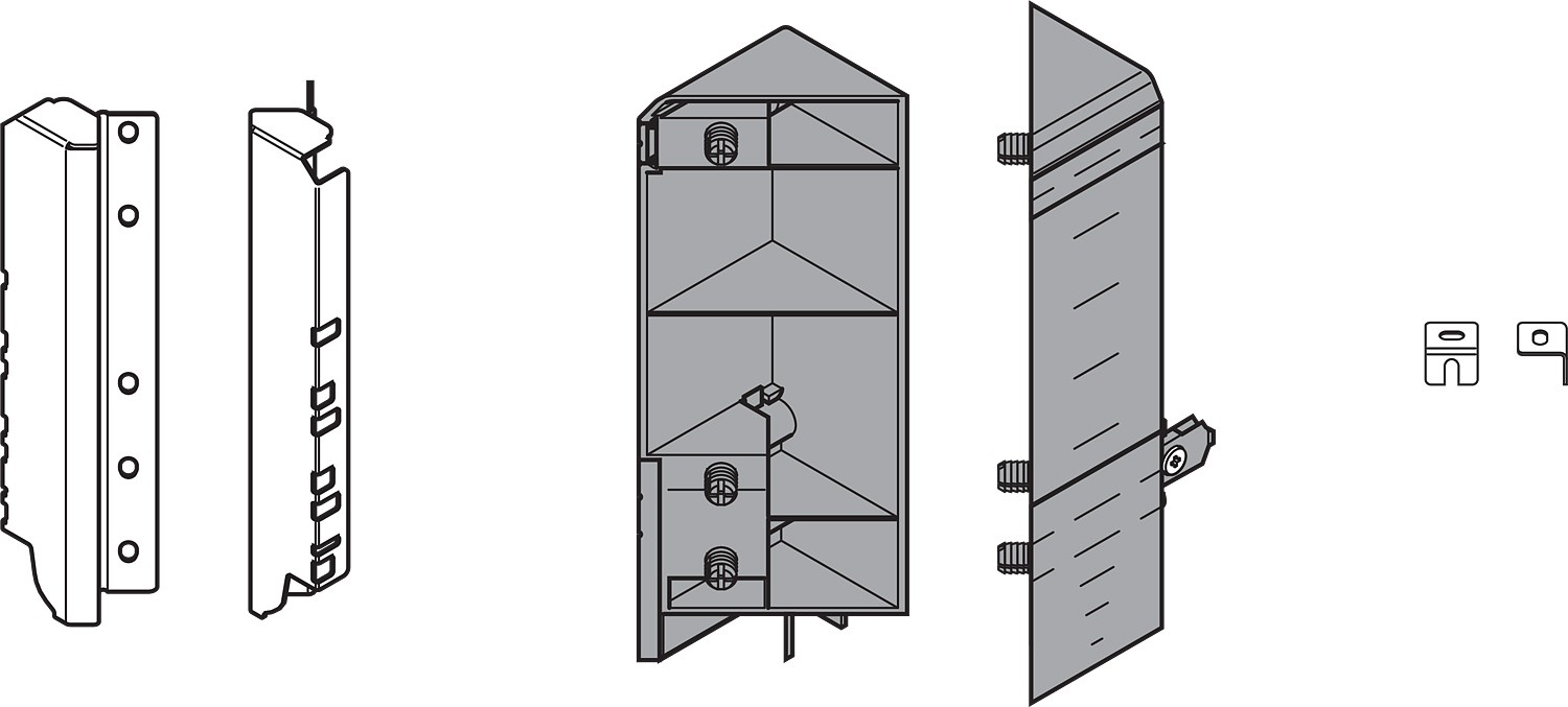 Blum ZSF.535E.D TANDEMBOX Space Corner Set (Front & Rear Brackets), D Height with Design Elements, Dust Gray/Nickel
