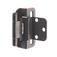 Amerock BP7565WN, Partial Wrap, Self-closing Face Fram Hinge, Standard Tip, 3/8 Inset, Weathered Nickel