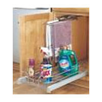 Rev-A-Shelf 5330-15CR, 14-1/8 W Chrome Wire Basket Pull-Out with Soft-Close for Base Cabinets