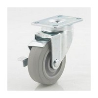DH Casters C-LM4P1TPSB, Plate Mount Swivel & Rigid Caster, Medium Duty, 4in, 240lb Capacity, Plate Size 2-3/8 x 3-5/8