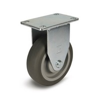 DH Casters C-LM4P1PUR, Plate Mount Swivel & Rigid Caster, Medium Duty, 4in, 275lb Weight Capacity, Plate Size 2-3/8 x 3-5/8