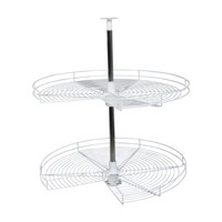 KV PC32STM-FN, 32in Wire Kidney Shaped Lazy Susan, KV Series, Frosted Nickel, 2-Shelf Set with Hardware, Independently Rotating, Knape and Vogt