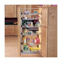 Rev-A-Shelf 5243-09N CR, Pull-Out Pantry Unit, 4-6 Chrome Basket System, 8-7/8 BW x 43-3/8 to 50-3/4 FH x 20in OD, 4 Baskets / 2 Door Mount Brackets