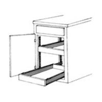 Vogt Industries 340 CAB RIGHT ALM 18, 18in 75lb 3/4 Extension Suspension System Slides, Almond, Right Hand Cabinet Member