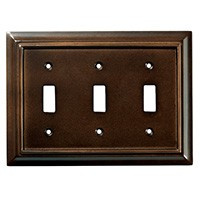 Liberty Hardware 126344, Triple Switch Wall Plate, Espresso, Wood Architectural