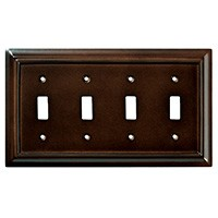 Liberty Hardware 126345, Quad Switch Wall Plate, Espresso, Wood Architectural