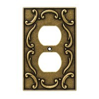 Liberty Hardware 126346, Single Duplex Wall Plate, Burnished Antique Brass, French Lace Collection
