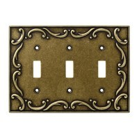 Liberty Hardware 126350, Triple Switch Wall Plate, Burnished Antique Brass, French Lace Collection