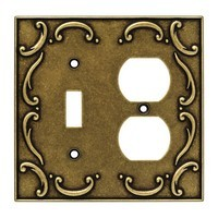 Liberty Hardware 126386, Single Switch/Duplex Wall Plate, Burnished Antique Brass, French Lace Collection