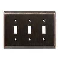 Liberty Hardware 126410, Triple Switch Wall Plate, Venetian Bronze, Stately Collection