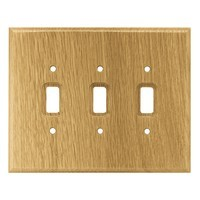 Liberty Hardware 126430, Triple Switch Wall Plate, Medium Oak, Wood Square Collection