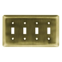 Liberty Hardware 126433, Quad Switch Wall Plate, Antique Brass, Stamped Round