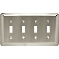 Liberty Hardware 126434, Quad Switch Wall Plate, Satin Nickel, Stamped Round Collection