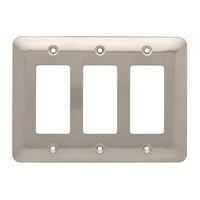 Liberty Hardware 126442, Triple Decorator Wall Plate, Satin Nickel, Stamped Round