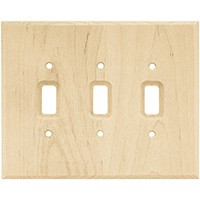Liberty Hardware 126796, Triple Switch Wall Plate, Unfinished Wood, Wood Square