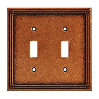 Liberty Hardware 135765, Double Switch Wall Plate, Sponged Copper, Ruston Collection