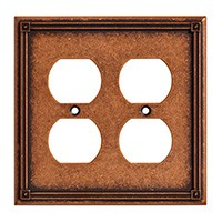 Liberty Hardware 135768, Double Duplex Wall Plate, Sponged Copper, Ruston Collection