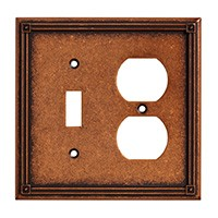 Liberty Hardware 135770, Single Switch/Duplex Wall Plate, Sponged Copper, Ruston Collection