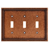 Liberty Hardware 135772, Triple Switch Wall Plate, Sponged Copper, Ruston Collection