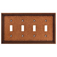 Liberty Hardware 135773, Quad Switch Wall Plate, Sponged Copper, Ruston Collection