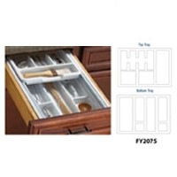 Knape and Vogt KV 2075E-W, 20-3/4 Plastc Drawer Tray Insert, KV Series, White, 2-Tiered Tableware Insert, 20-3/4 W x 19-1/4 D x 3-1/4 H, Top Tray Cannot be Removed