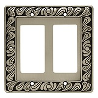 Liberty Hardware 64037, Double Decorator Wall Plate, Brushed Satin Pewter, Paisley Collection