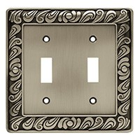 Liberty Hardware 64039, Double Switch Wall Plate, Brushed Satin Pewter, Paisley Collection
