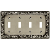 Liberty Hardware 64041, Quad Switch Wall Plate, Brushed Satin Pewter, Paisley Collection