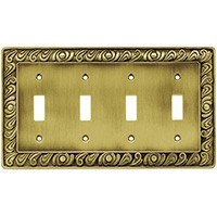 Liberty Hardware 64043, Quad Switch Wall Plate, Tumbled Antique Brass, Paisley Collection