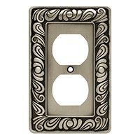 Liberty Hardware 64044, Single Duplex Wall Plate, Brushed Satin Pewter, Paisley Collection