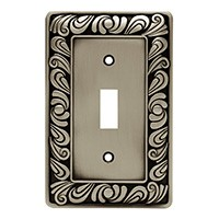Liberty Hardware 64048, Single Switch Wall Plate, Brushed Satin Pewter, Paisley Collection