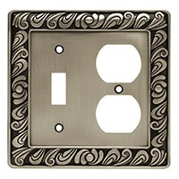 Liberty Hardware 64050, Single Switch/Duplex Wall Plate, Brushed Satin Pewter, Paisley Collection
