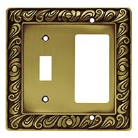 Liberty Hardware 64053, Single Switch/Decorator Wall Plate, Tumbled Antique Brass, Paisley Collection