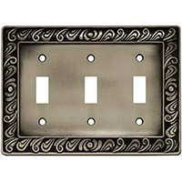 Liberty Hardware 64054, Triple Switch Wall Plate, Brushed Satin Pewter, Paisley Collection