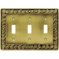 Liberty Hardware 64055, Triple Switch Wall Plate, Tumbled Antique Brass, Paisley Collection