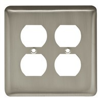 Liberty Hardware 64072, Double Duplex Wall Plate, Satin Nickel, Stamped Round Collection