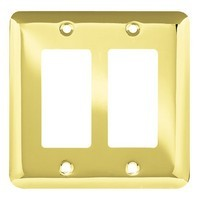 Liberty Hardware 64078, Double Decorator Wall Plate, Polished Brass, Stamped Round