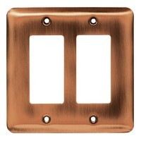 Liberty Hardware 64080, Double Decorator Wall Plate, Antique Copper, Stamped Round