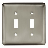 Liberty Hardware 64093, Double Switch Wall Plate, Satin Nickel, Stamped Round Collection