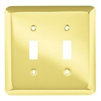 Liberty Hardware 64098, Double Switch Wall Plate, Polished Brass, Stamped Round