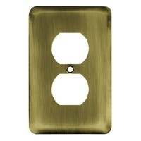 Liberty Hardware 64111, Single Duplex Wall Plate, Antique Brass, Stamped Round