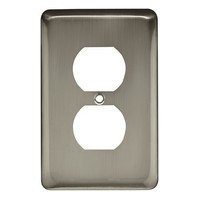 Liberty Hardware 64121, Single Duplex Wall Plate 6 Per Box, Satin Nickel, Stamped Round