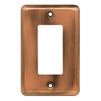 Liberty Hardware 64124, Single Decorator Wall Plate, Antique Copper, Stamped Round