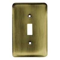 Liberty Hardware 64134, Single Switch Wall Plate, Antique Brass, Stamped Round
