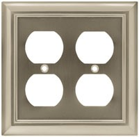 Liberty Hardware 64165, Double Duplex Wall Plate, Length 6-1/8, Satin Nickel, Architectural