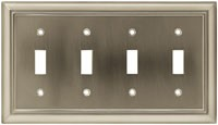 Liberty Hardware 64169, Quad Switch Wall Plate, Length 11-1/4, Satin Nickel, Architectural